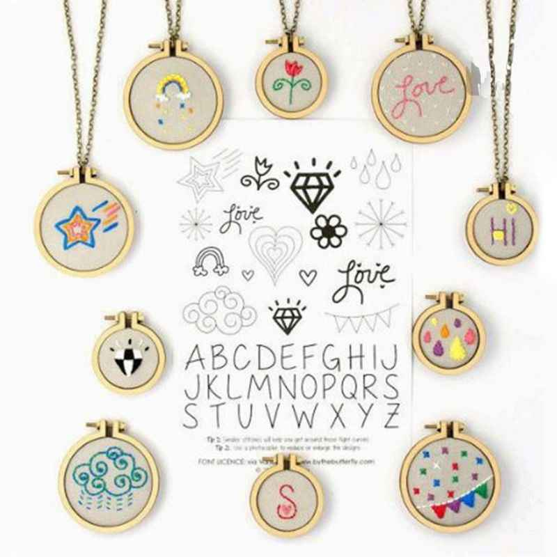 DIY Jewelry Parts Fashion Necklace Pendant Wooden Cross Stitch Hoop Mini Ring Embroidery Circle Sewing Kit Frame Crafts