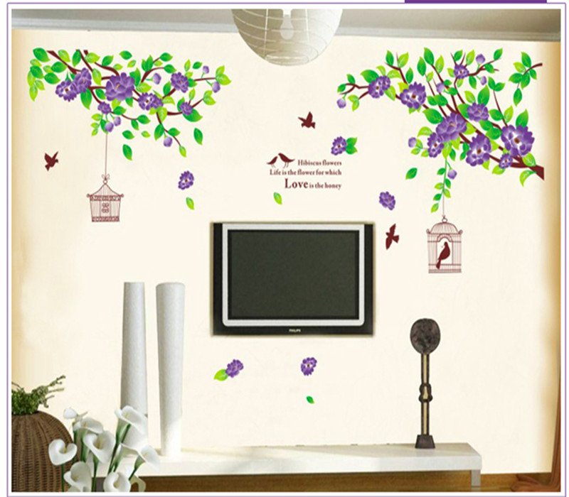 Purple Birds Cage Flower B DIY Wall Sticker Home Decals Wall Decal Home Decortaion Wallpaper Wedding Room Kids Room Bedroom
