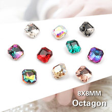 30/100pcs Mix Kleur Nail Art Rhinestones Vierkante Octagon Crystal Shiny 3D Strass Edelsteen Manicure Decoratie Charms sieraden(China)