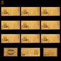10 pçs/lote papel de moeda asiática omã 20 rial 24k banhado a ouro falso dinheiro réplica notas coleções
