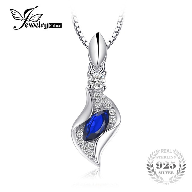 JewelryPalace Fashion Marquise Created Blue Spinel Necklace Pendant S925 Sterlin