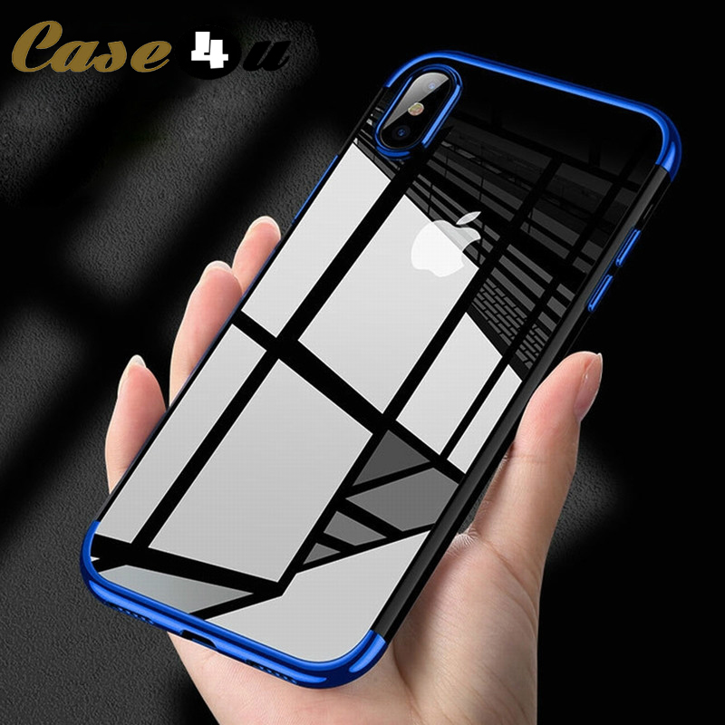Shockproof Plating Clear Silicone Phone Cases for iPhone 11 Pro MAX XR X XS MAX Soft TPU Cover for iPhone 6 6s 7 8 Plus 10 Logo(China)