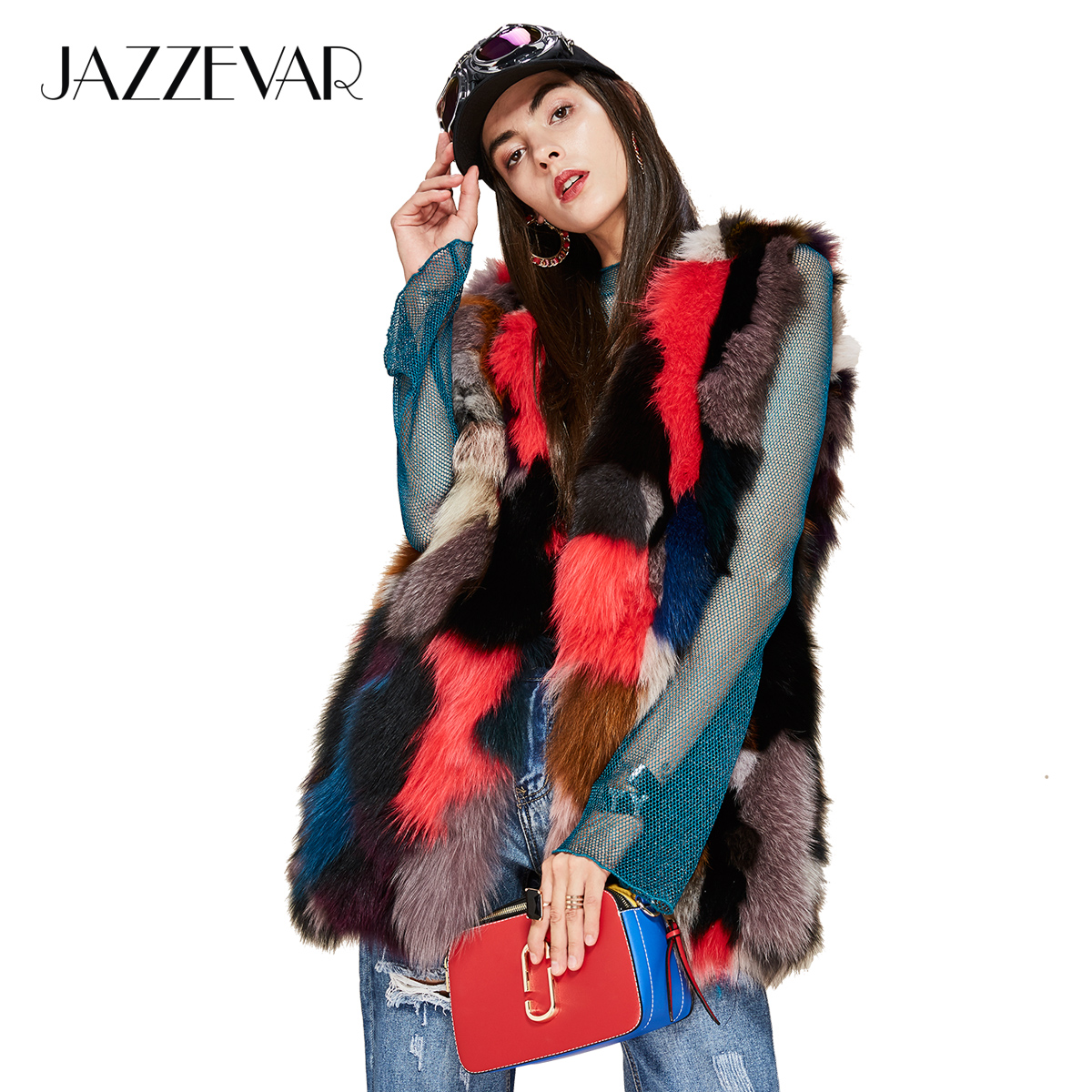 JAZZEVAR Women Luxurious Real Fox Fur Vest 2019541