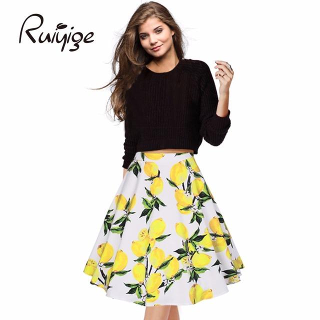 Ruiyige womens sexy midi falda de la impresión floral negro más tamaño Oficina Elegante Verano de la Alta Cintura del vestido de Bola del partido Falda Del Tutú faldas