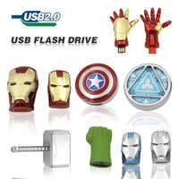 Usb Flash Drive cartoon 32GB 64GB Captain America Iron 16GB 8GB Man The Hulk Thor U Disk Pen drive USB 2.0 memory stick