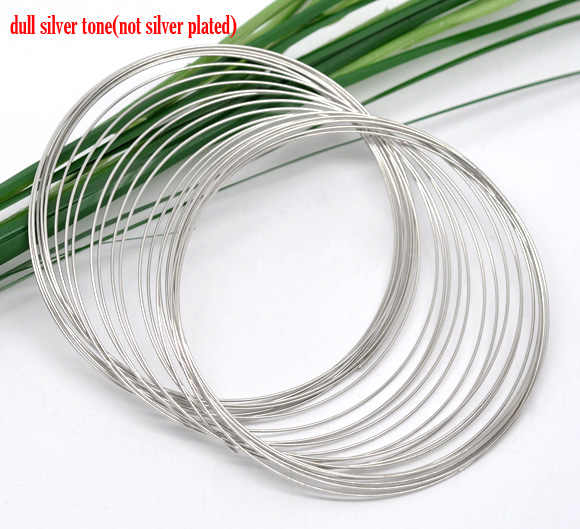 "DoreenBeads Steel Wire Memory Beading Bracelets Components Round Silver Tone 6.5cm(2 4/8"") Dia, 50 Loops 2015 new"