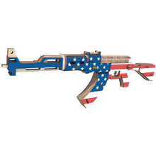 Laser Cutting New Assembly DIY Education Toy 3D Wooden Model Puzzles For Kids Gifts Of US AK-47 Assault Rifle Arms(China)