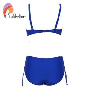 Image 4 - Andzhelika Plus Size Swimwear Bandeau Bikini 2019 Sexy Solid Diamond High Waist Bikini Set swimsuit Swim Bathing Suits AK8091