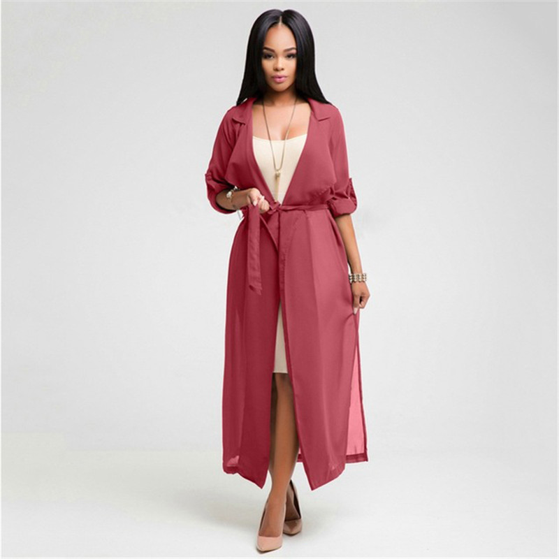 2018 Summer Fashion Chiffon   Trench   Cardigan Long   Trench   Coat Womens Spring Coat Female Notch Neck Coat duster coat D402