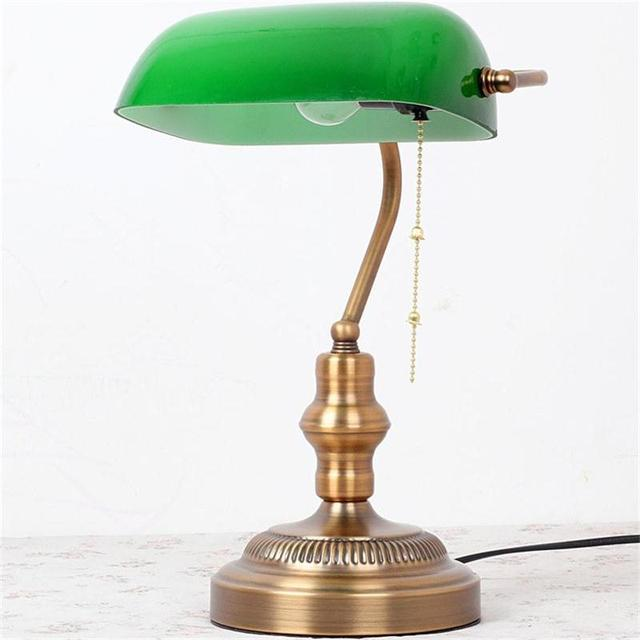 Merveilleux LED Desk Lamp E27 Powerbank Table Light Office Lamparas Escritorio Reading  Lamps Emerald Green Glass Bureau