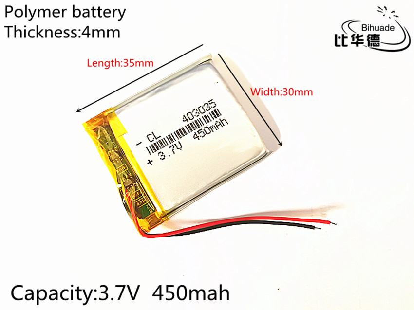 1pcs 3.7V 450mAh 403035 Lithium Polymer Li-Po li ion Rechargeable Battery cells For Mp3 MP4 MP5 GPS PSP mobile bluetooth 3 7v 500mah 502535 lithium polymer li po li ion rechargeable battery cells for mp3 mp4 mp5 gps psp mobile bluetooth