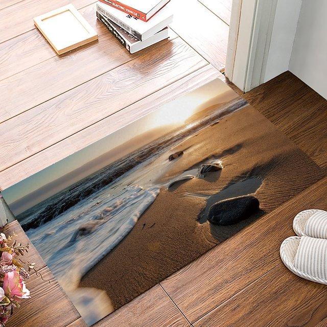 Beach Door Mats Rug Sunset Stone Waves Pattern For Floor Mats Front Doormats  Non Slip