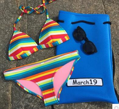 2018 4 16 newest color handmade crochet bikini bandeau bow halter swimwear women Floral bottom swimsuit hot summer