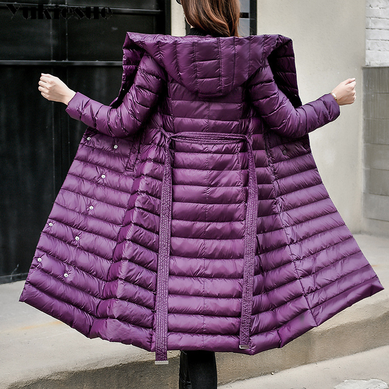 2018   Down   Jacket Female Vintage A line Overcoat Ultralight Winter   Down     Coat   Women Long Warm Parka With Belt Plus size jeackets
