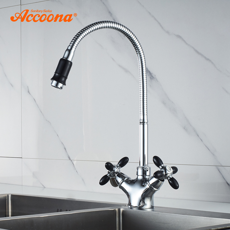 Accoona  Kitchen Faucet Solid Brass Water Tap Kitchen Sink Faucets Dual Lever Hot And  Cold Water Mixer Tap Crane A4882