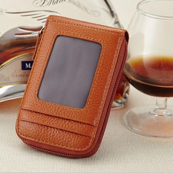 ISKYBOB Genuine Leather Unisex Card Holder Wallets High Quality Female Credit Card Holders Women Pillow Card holder Purse Passport & ID Holders