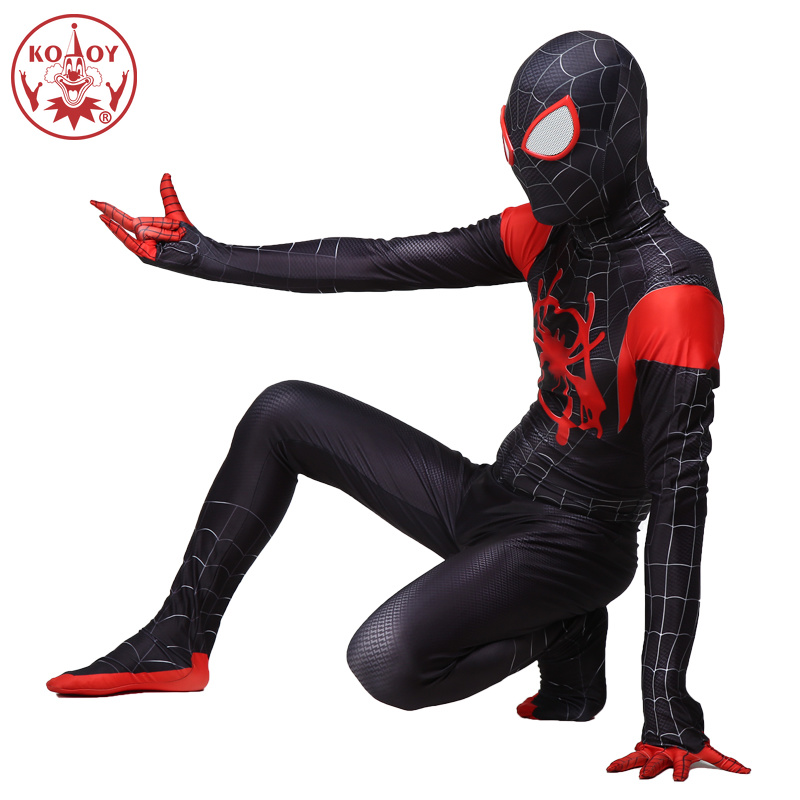 Newest Spiderman Costume Black Red Fullbody Spider-Men Halloween Cosplay For Adult Men