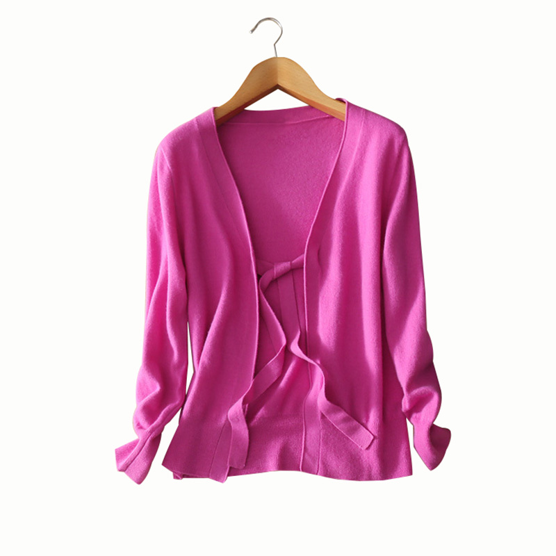 cashmere wool sweater full sleeves V-neck solid color belt bow cardigans women autumn/spring clothings