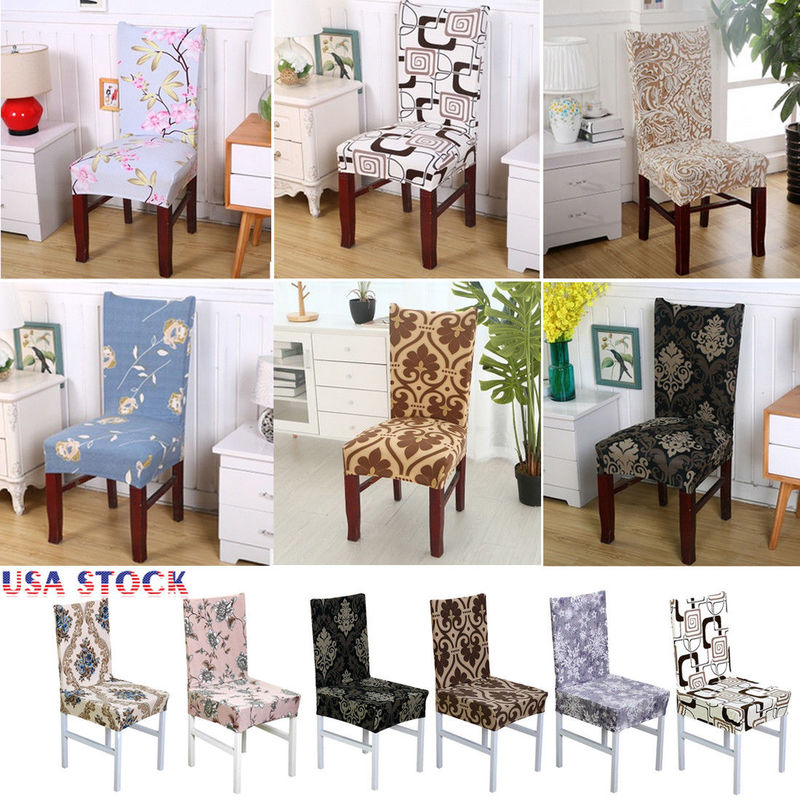 Stretch Spandex Chair Cover Dining Room Wedding Party Pattern Seat Cover