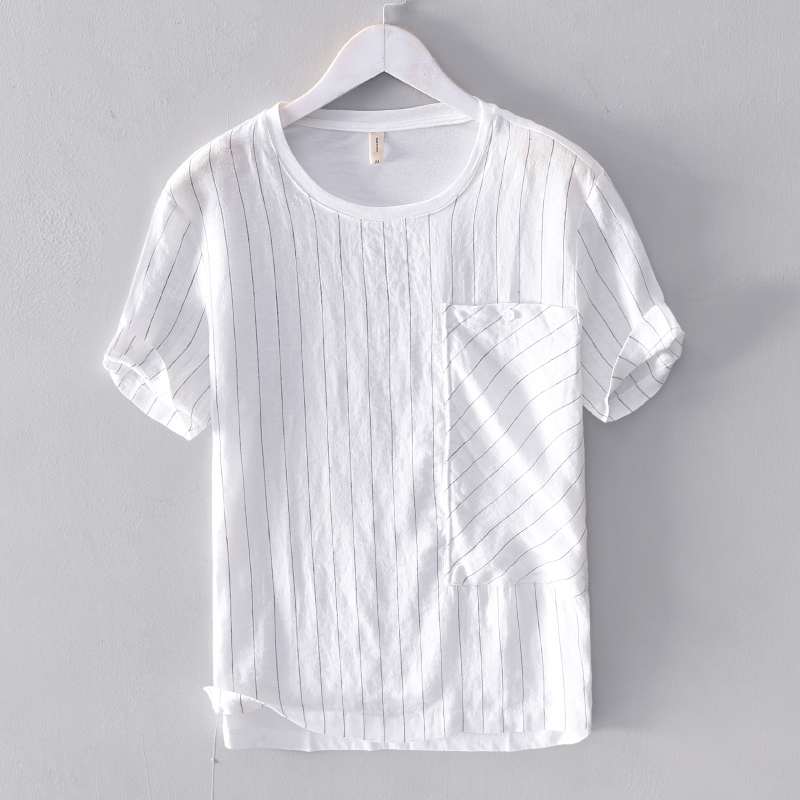 2019 Men's linen stitching striped short-sleeved t-shirt solid summer white t shirt men fashion tops tshirt male camisa chemise