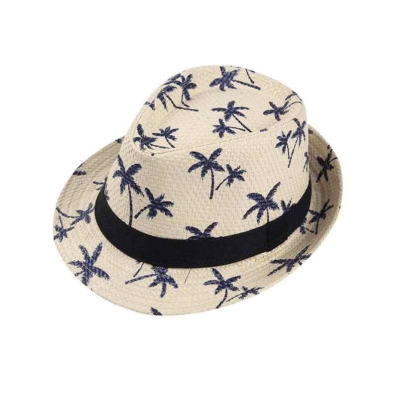 50797b18e40 ... BTLIGe Summer Straw Hats For Adult Kids Children Panama Hat Coconut  Tree Jazz Caps Casual Beach ...