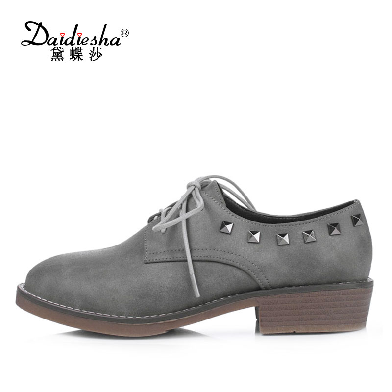 Daidiesha Spring British Style Oxfords Shoes Women Casual Flat Shoes Lace-Up Moccasin Womens Shoes Rivet Flat Footwear Black casual style rivet flat top cap hat for women black