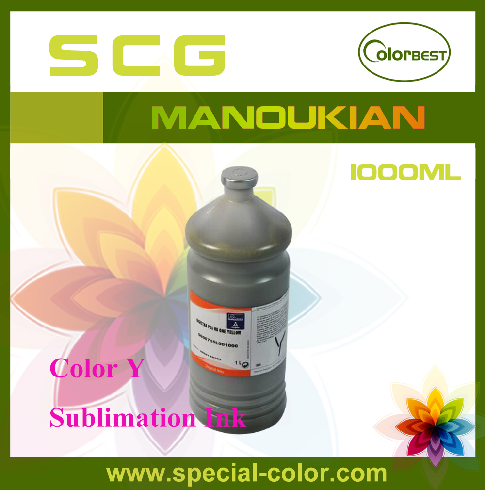 Imported Sublimation Ink Color Y Manoukian Bottle Ink 1000ml for Roland/Mimaki/Mutoh/Epson DX4/DX5 1000ml x 4color textile pigment ink in bottle for roland mimaki mutoh printer