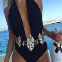 Hot Sale Fashion Sexy Body Chain Charm Exaggerated Night Club Party Crystal Prethoracic Body Chain Statement