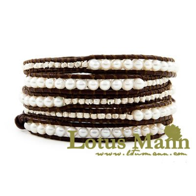 latest design charm jewelry with fresh water pearl beaded bracelet Wrap Bracelet on Leather