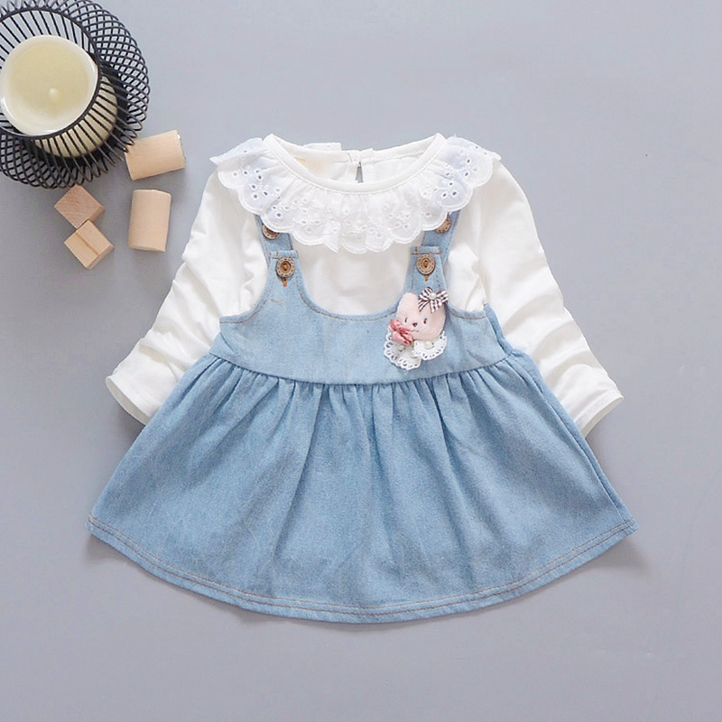 2017 Autumn baby Party Birthday girls kids Children lace neck Long Sleeve denim overall dresses princess