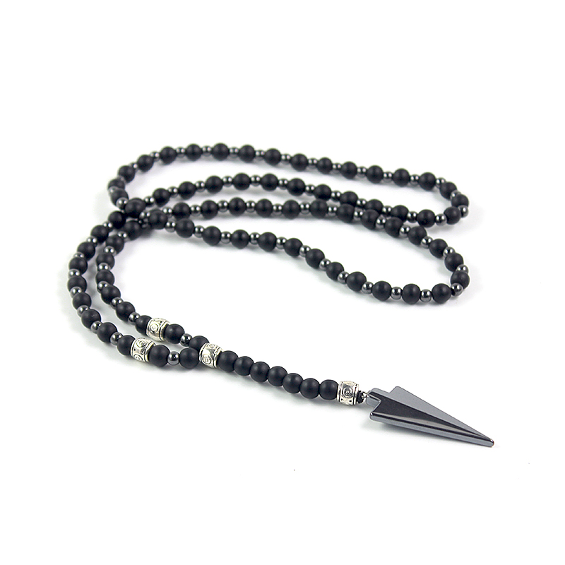 New Design Matte Black Onyx 6mm Round Beads and Hematite Beads 4mm Long Necklace with Arrow Pendant Fashion Men's Jewelry