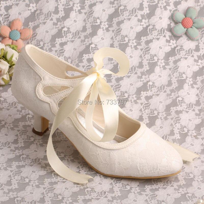wedopus low heeled ivory handmade wedding shoes bridal ribbon closed toechina mainland