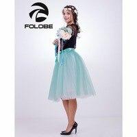 FOLOBE Green White 65cm Long Ball Gown Tutu Tulle Skirts Women Pleated American Apparel Lolita Petticoat
