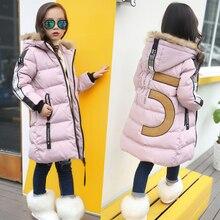 Quente 2019 meninas inverno novas jaquetas de algodão meninas moda gola de pele cartas casacos menina espessamento com capuz quente jaqueta crianças roupas
