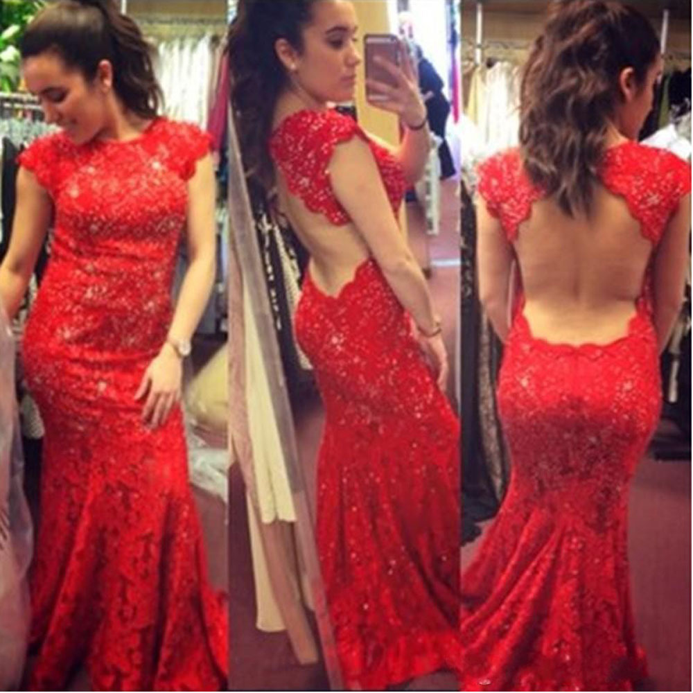 Abendkleid hollywood abendkleider : Aliexpress.com : Buy Hot Sale Red Prom Dress Open Back Lace Prom ...