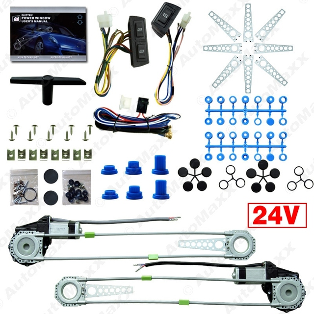 DC24V Car/Truck Front 2-Doors Electric Power Window Kits with 3pcs/Set Switches & Harness #J-4064