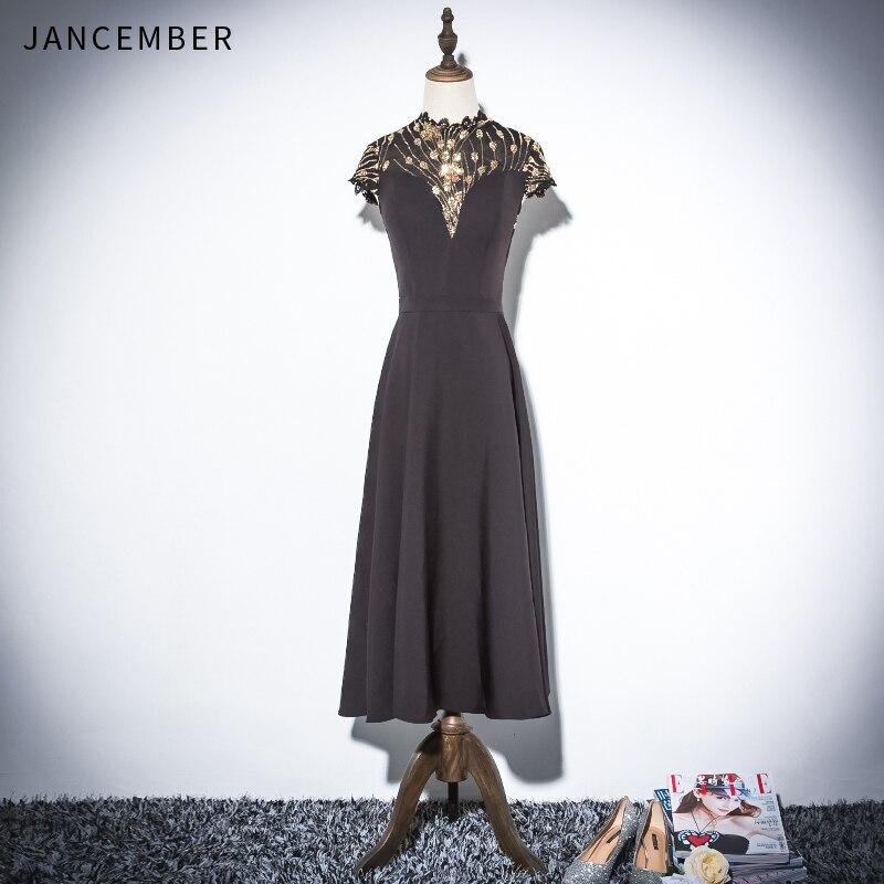 JANCEMBER 2019 Latest Light Luxury   Cocktail     Dresses   Cap Short Sleeve High Neck Sequins Pattern Zipper Back vestido de coctel New