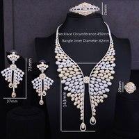 GODKI Famous Brand 2 Tone Super Luxury Angel Wing Feather Cubic Zirconia Women Wedding Dress Necklace Earring Lariat Jewelry Set