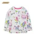 2016 Primavera JOMAKE Marca Baby Girl Camiseta de Animales de Dibujos Animados de Graffiti de Manga Larga Ropa Muchachas Del Algodón Tops Ropa de Niños Niño