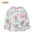 2017 Spring JOMAKE Brand Baby Girl T-shirt Cartoon Animal Graffiti Long Sleeve Cotton Girls Tops Kids Clothes Toddler Clothing