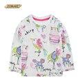 2017 primavera jomake marca baby girl camiseta de animales de dibujos animados de graffiti de manga larga ropa muchachas del algodón tops ropa de niños niño