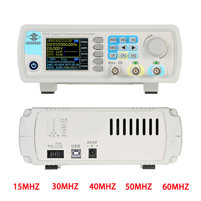JDS6600 MAX 60MHz Digital Control Dual channel DDS Function Signal Generator frequency meter Arbitrary sine Waveform