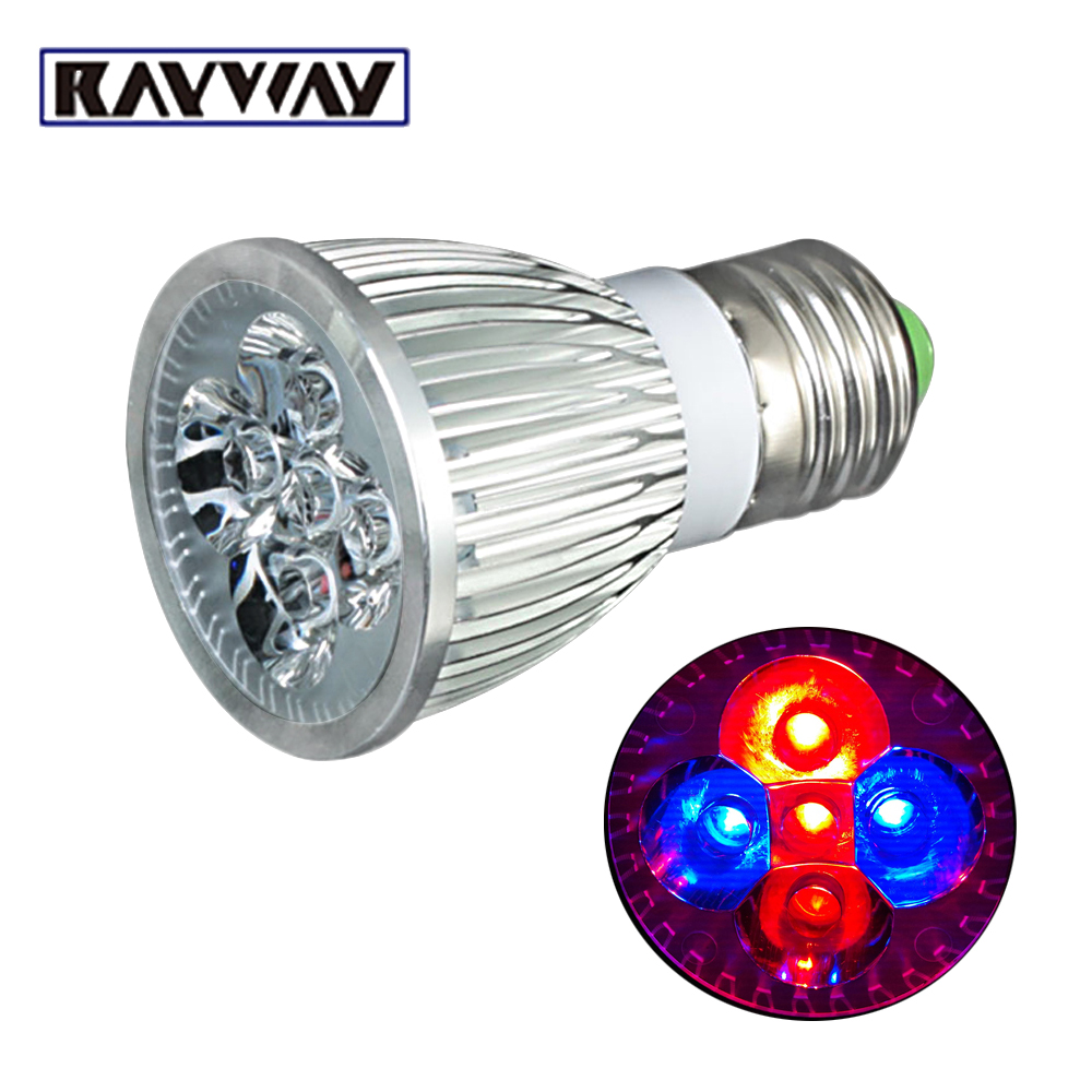 RAYWAY wholesale 5pcs/lot 5w LED GROW LIGHT E27 660nm 460nm LED Growing Lamps plants flo ...