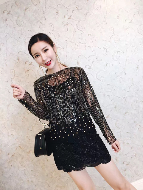 eaff8e0659c 2017 Tops Blusa Unicorn Genuine Outfit Club Explosion Beads Sequins Lace  Shirt Ladies European Summer T-shirt Sleeve Head Women