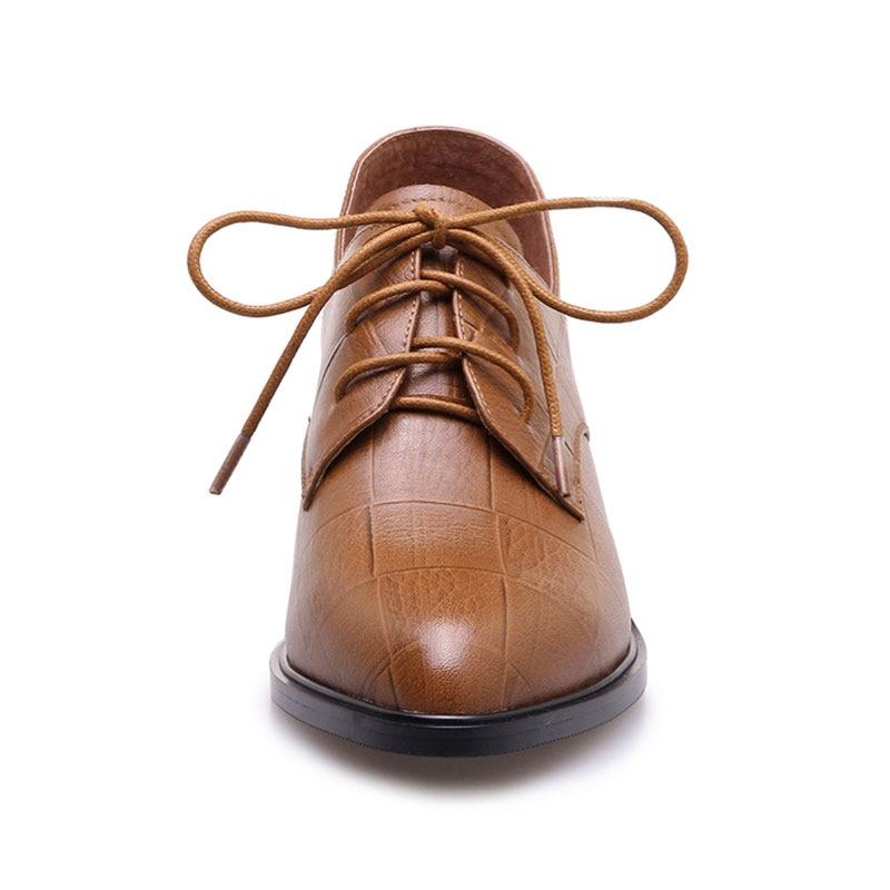 Lacent Chaussures Bout Femmes Black En Zapatos Mujer Richelieus Talons Dames Véritable yellow Pointu Fanyuan Cuir Bloc Romain Pompes Vintage Femme pwxAEB6Rqz