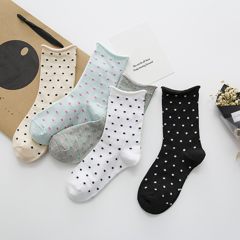 Jeseca Women Dot Print Short   Socks   Autumn Winter Harajuku Vintage Streetwear   Sock   Japanese Kawaii School Students Christmas Gift