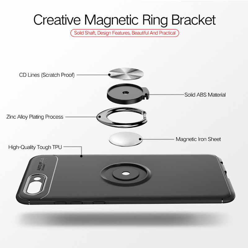 360 Rotating Finger Ring Magnetic Car Holder Back Cover Case for Huawei Honor V9 TPU Case Phone Cover for Honor 8 Pro Capa Coque