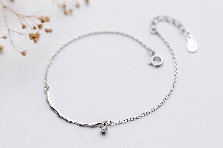 womens Authentic Real. 925 Sterling Silver Fine Jewelry Stone cz with waterwave Arch Bar Chain Bracelet GTLS676