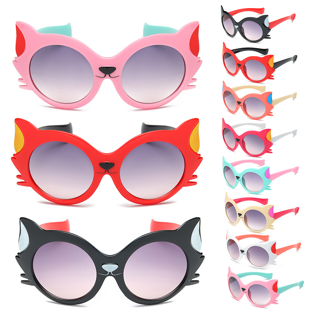 Cat Eye Fashion Brand Girls Boy Cartoon Anti UV400 Eyeglasses Toddler Baby Lovable Popular Sunshade Sunglasses