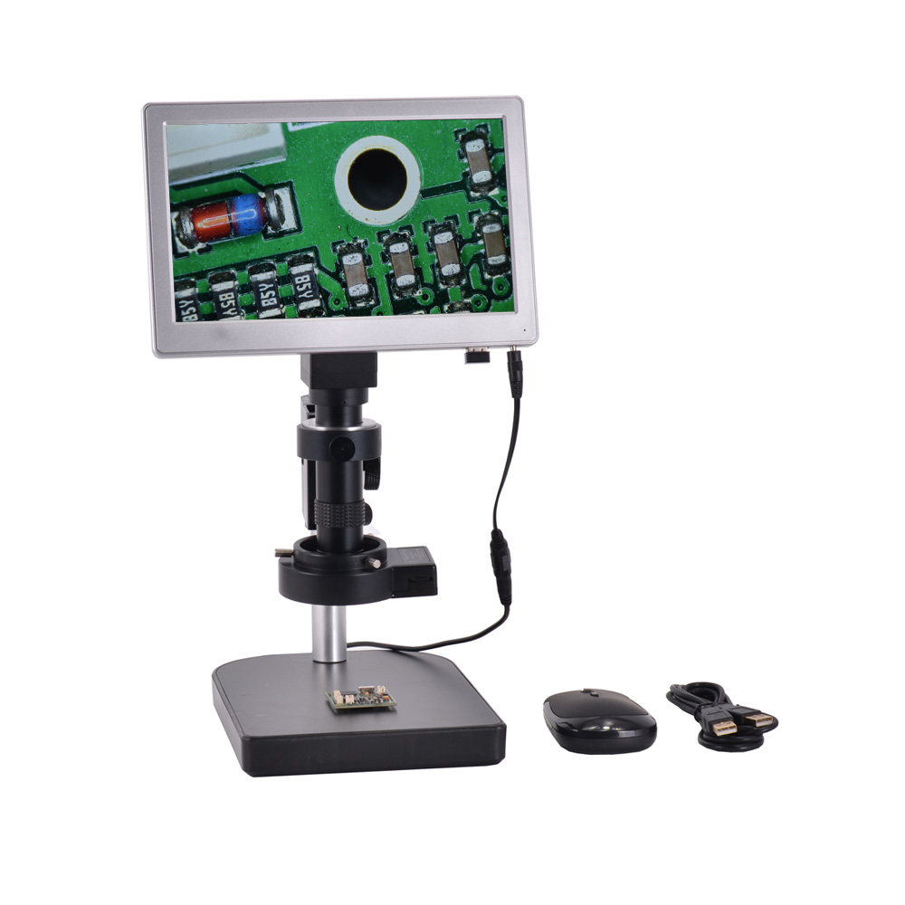 USB TF Card Microscope Camera Android System 5.0MP 9 Inch Screen Tablet Digital Microscope Camera+Table Stand+120X C-mount Lens